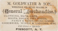 Political:Small Paper (pre-1896), Barry Goldwater: Grandfather's Business Card....