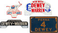 Political:3D & Other Display (1896-present), Dewey & Warren: Jugate License Plate and Three Others....(Total: 4 Items)