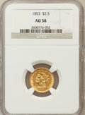 Liberty Quarter Eagles: , 1853 $2 1/2 AU58 NGC. NGC Census: (362/799). PCGS Population(132/417). Mintage: 1,404,668. Numismedia Wsl. Price for probl...
