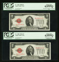 Small Size:Legal Tender Notes, Fr. 1503/Fr. 1502 $2 1928B/1928A Legal Tender Notes. Reverse Changeover Pair. PCGS Choice New 63PPQ.. ... (Total: 2 notes)