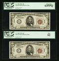 Small Size:World War II Emergency Notes, Fr. 2302 $5 1934A Hawaii Federal Reserve Notes. Two Consecutive Examples. PCGS New 62-Choice New 63PPQ.. ... (Total: 2 notes)