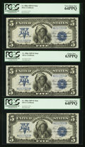 Large Size:Silver Certificates, Fr. 280m $5 1899 Mule Silver Certificates. PCGS Very Choice New64PPQ (2) and Choice New 63PPQ.. ... (Total: 3 notes)