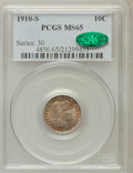 Barber Dimes, 1910-S 10C MS65 PCGS. CAC....