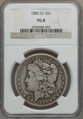 Morgan Dollars: , 1885-CC $1 VG8 NGC. NGC Census: (2/8870). PCGS Population (13/18134). Mintage: 228,000. Numismedia Wsl. Price for problem f...