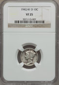 Mercury Dimes: , 1942/1-D 10C VF25 NGC. NGC Census: (70/467). PCGS Population(73/513). Mintage: 60,740,000. Numismedia Wsl. Price for probl...