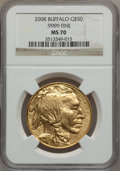 Modern Bullion Coins, 2008 $50 One-Ounce Gold Buffalo MS70 NGC. .9999 Fine. NGC Census:(0). PCGS Population (385). (#393327)...