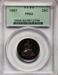 Proof Seated Quarters: , 1867 25C PR62 PCGS. PCGS Population (34/102). NGC Census: (15/99).Mintage: 625. Numismedia Wsl. Price for problem free NGC...