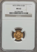 Gold Dollars: , 1873 G$1 Open 3 MS62 NGC. NGC Census: (715/617). PCGS Population(481/656). Mintage: 123,300. Numismedia Wsl. Price for pro...