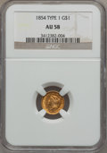 Gold Dollars: , 1854 G$1 Type One AU58 NGC. NGC Census: (390/2970). PCGS Population(481/1244). Mintage: 855,502. Numismedia Wsl. Price for...