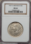 Commemorative Silver: , 1937-S 50C Arkansas MS66 NGC. NGC Census: (29/3). PCGS Population(59/3). Mintage: 5,506. Numismedia Wsl. Price for problem...