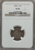 Seated Dimes: , 1860-S 10C VF20 NGC. NGC Census: (2/29). PCGS Population (4/53).Mintage: 140,000. Numismedia Wsl. Price for problem free N...