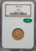 Three Dollar Gold Pieces: , 1860-S $3 Fine 12 NGC. CAC. NGC Census: (6/115). PCGS Population(7/110). Mintage: 7,000. Numismedia Wsl. Price for problem...