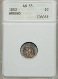 Seated Half Dimes: , 1853 H10C Arrows AU55 ANACS. NGC Census: (60/890). PCGS Population(102/673). Mintage: 13,210,020. Numismedia Wsl. Price fo...