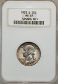 Washington Quarters: , 1953-S 25C MS67 NGC. NGC Census: (269/1). PCGS Population (54/0).Mintage: 14,016,000. Numismedia Wsl. Price for problem fr...