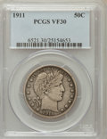 Barber Half Dollars: , 1911 50C VF30 PCGS. PCGS Population (10/398). NGC Census: (1/256).Mintage: 1,406,543. Numismedia Wsl. Price for problem fr...