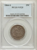 Seated Quarters, 1866-S 25C VF25 PCGS....