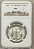 Commemorative Silver: , 1948-S 50C Booker T. Washington MS67 NGC. NGC Census: (61/1). PCGSPopulation (7/0). Mintage: 8,005. Numismedia Wsl. Price ...