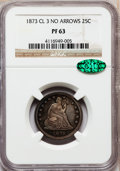 Proof Seated Quarters, 1873 25C No Arrows PR63 NGC. CAC....