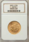 Indian Eagles: , 1909-S $10 AU58 NGC. NGC Census: (228/249). PCGS Population(174/293). Mintage: 292,350. Numismedia Wsl. Price for problem ...