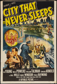 "City That Never Sleeps (Republic, 1953). One Sheet (27"" X 41""). Film Noir"