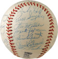 Autographs:Baseballs, 1963 Baltimore Orioles Team Signed Baseball. Impressive collectionof twenty-seven signatures appear on this baseball stamp...