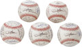 Autographs:Baseballs, 1997 San Francisco Giants Team Signed Baseballs Lot of 5. Not asingle clubhouse signature has found its way onto these ONL...(Total: 5 Items)