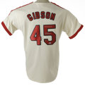Autographs:Jerseys, Bob Gibson Signed Jersey. Handsome Cooperstown Collection St. Louis Cardinals jersey is outfitted with grey-on-red flannel ...