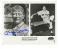 """Autographs:Photos, Mickey Mantle Signed Photograph. The 8x10"""" black and white printfeatures a shot of Mantle during his retirement side-by-si..."""