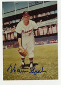 """Autographs:Photos, Warren Spahn Signed Photograph. Great full color 3.5x5"""" shot of theHOF hurler Warren Spahn, complete with an unimprovable ..."""