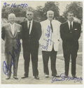 """Autographs:Photos, 1955 Baseball Hall of Famers Multi-Signed Magazine Photograph.Removed from the pages of a magazine, this 3.5x3.5"""" black an..."""