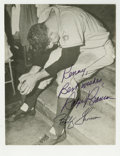 Autographs:Photos, Bobby Thomson and Ralph Branca Signed Photograph. The agony ofdefeat is rarely more evident as it is here, as Ralph Branca...