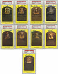 Autographs:Post Cards, Signed Gold Hall of Fame Plaques PSA-Authentic Lot of 9. Nine signed gold Hall of Fame postcards from Boudreau, Feller, Lem... (Total: 9 )