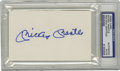 Autographs:Index Cards, Mickey Mantle Signed Index Card PSA Authentic. The Yankees Hall ofFame slugger penned his perfect blue sharpie signature o...