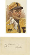 Autographs:Index Cards, J. Honus Wagner Signed Index Card with Perez-Steele Postcard. The Flying Dutchman Honus Wagner is regarded as one of the fi...