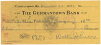 1941 Walter Johnson Signed Check. Christmas Eve 1941 and the hard-throwing Walter Johnson, one of the original five indu...