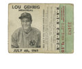Baseball Collectibles:Others, 1941 Lou Gehrig Memorial New York Yankees Ticket Stub. A littleover a month after Lou Gehrig lost his sudden a battle with...