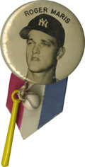 Baseball Collectibles:Others, Roger Maris PM-10 Stadium Pin. The rarest variation (whitebackground) of New York Yankees great Roger Maris' PM-10 stadium...