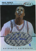 Basketball Cards:Singles (1980-Now), 1999 Sage Basketball Paul Pierce #A40 1/1 Signed Card. Rare 1/1 insert from the '99 SA-GE basketball issue features a stunn...