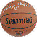 Basketball Collectibles:Balls, George Mikan Single Signed Basketball, Autograph Grade 10.Absolutely perfect silver sharpie signature from basketball's fi...