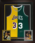 Basketball Collectibles:Others, Larry Bird and Magic Johnson Dual-Signed Jersey Display. Wheninterest in the NBA was waning near the end of the 1970s, the...