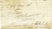 1982 Muhammad Ali Signed Handwritten Note. The clipped handwritten letter from 1982 offers insight into the mind of the...