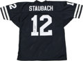 Football Collectibles:Others, Roger Staubach Signed Jersey. Early 1970s-style Dallas Cowboys blue jersey here has been decorated with the tackle twill id...