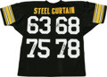 Football Collectibles:Others, Pittsburgh Steelers Steel Curtain Signed Jersey. Amazing display piece featuring signatures of the members of the original ...