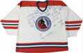 Hockey Collectibles:Others, Hockey Hall of Fame Multi-Signed Jersey. Some of the foremost artists who have ever graced the ice have applied sharpie to ...