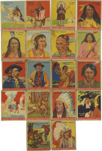 1933 Goudey Indian Gum Cards Group Lot of 18. From the tough 1933 Goudey set focusing on the varied Native American cult...
