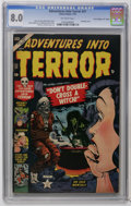 "Golden Age (1938-1955):Horror, Adventures Into Terror #21 Davis Crippen (""D"" Copy) pedigree(Atlas, 1953) CGC VF 8.0 Off-white pages. Bondage cover by Bill..."