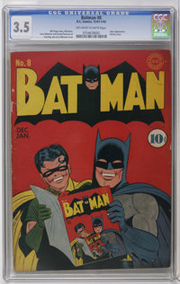 Batman #8 (DC, 1942) CGC VG- 3.5 Off-white to white pages. As you can see by the cover, everyone was reading this title...