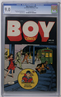 Boy Comics #19 (Lev Gleason, 1944) CGC VF/NM 9.0 Off-white to white pages. Charles Biro cover. Rudy Palais and Dick Brie...