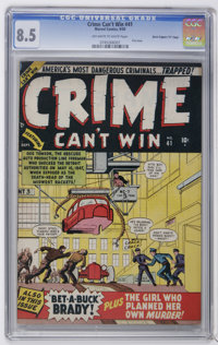 """Crime Can't Win #41 Davis Crippen (""""D"""" Copy) pedigree (Marvel, 1950) CGC VF+ 8.5 Off-white to white pages. Fir..."""