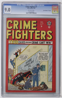 """Crime Fighters #7 Davis Crippen (""""D"""" Copy) pedigree (Atlas, 1949) CGC VF/NM 9.0 Off-white pages. Highest CGC g..."""
